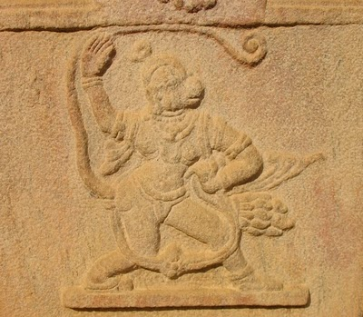 Carving of Hanuman at Yoga Narasimha Temple
