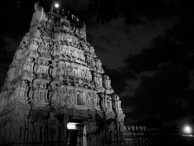 Melukote Gopuram at Night during Vairamudi